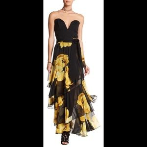 TOV Yellow Flower Tiered Maxi Skirt